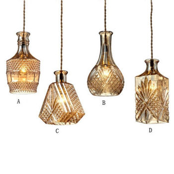 Adjustable Retro Cable Decanter Glass Bottle Pendant Light Fixtures for dinning room decanter lamps