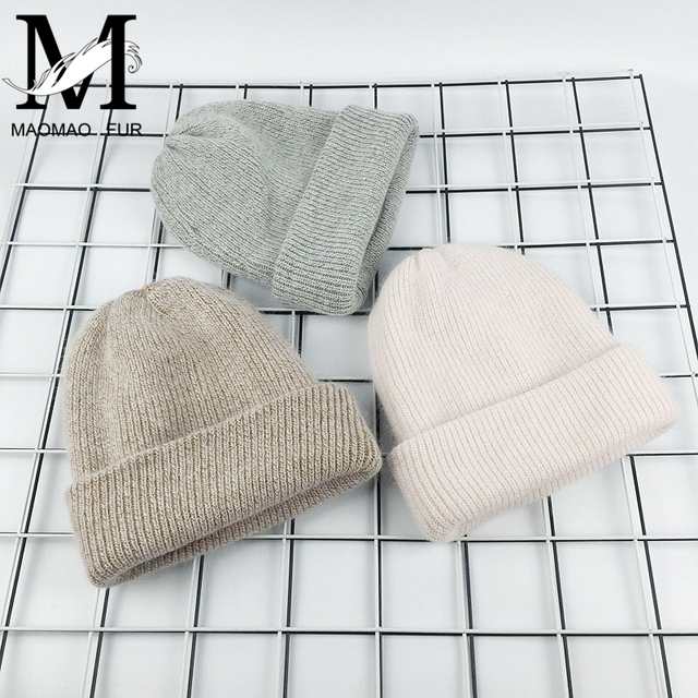 Rabbit Cashmere Knitted Beanies Thick Warm Vogue Ladies Wool Angora Hat 1