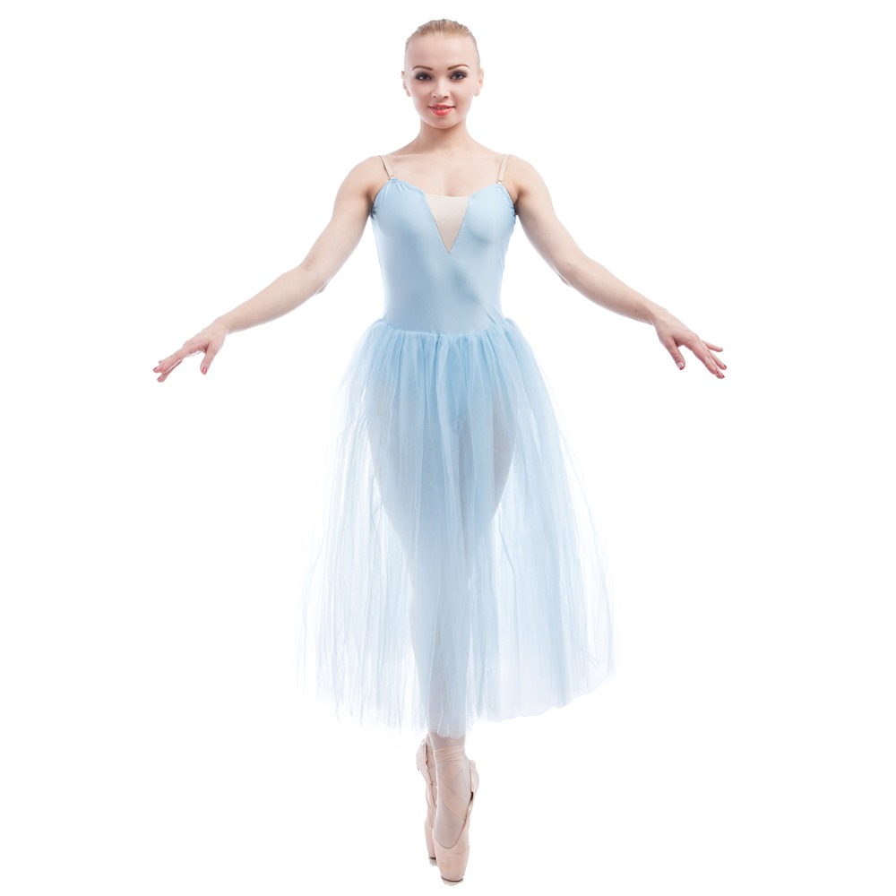 0a974af9b7b7 Long Ballet Tutu Romantic Blue Dress Girls Dancewear Kid and Adult ...