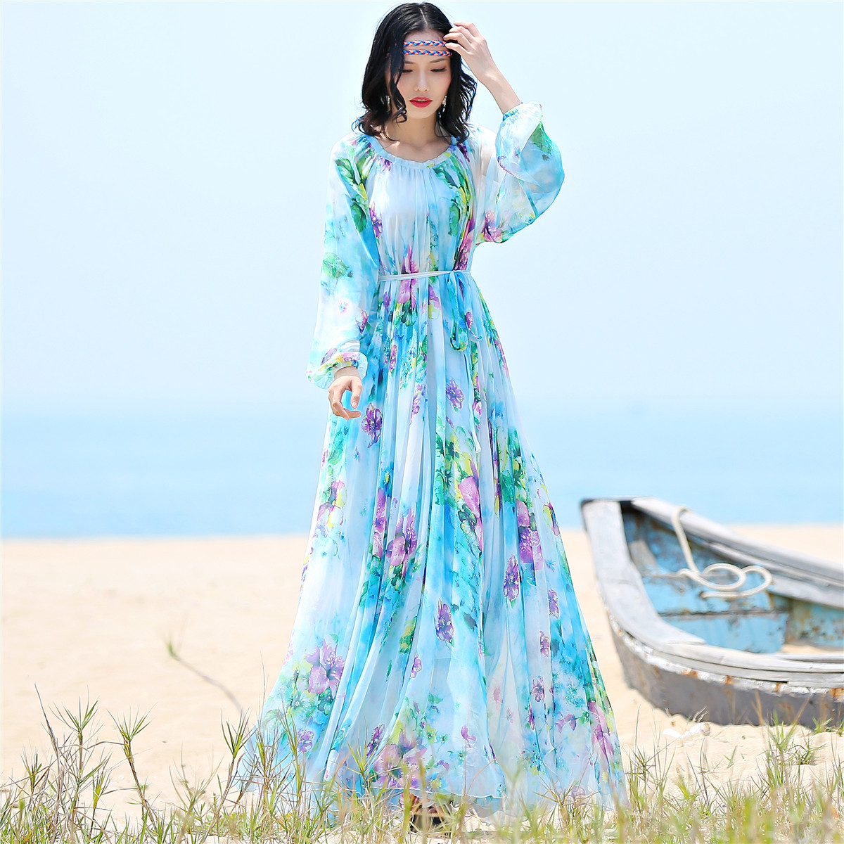 2019 chiffon Long Sleeve maxi dress bohemia dress full plus size celebrity graduation Dinner Dress Beach