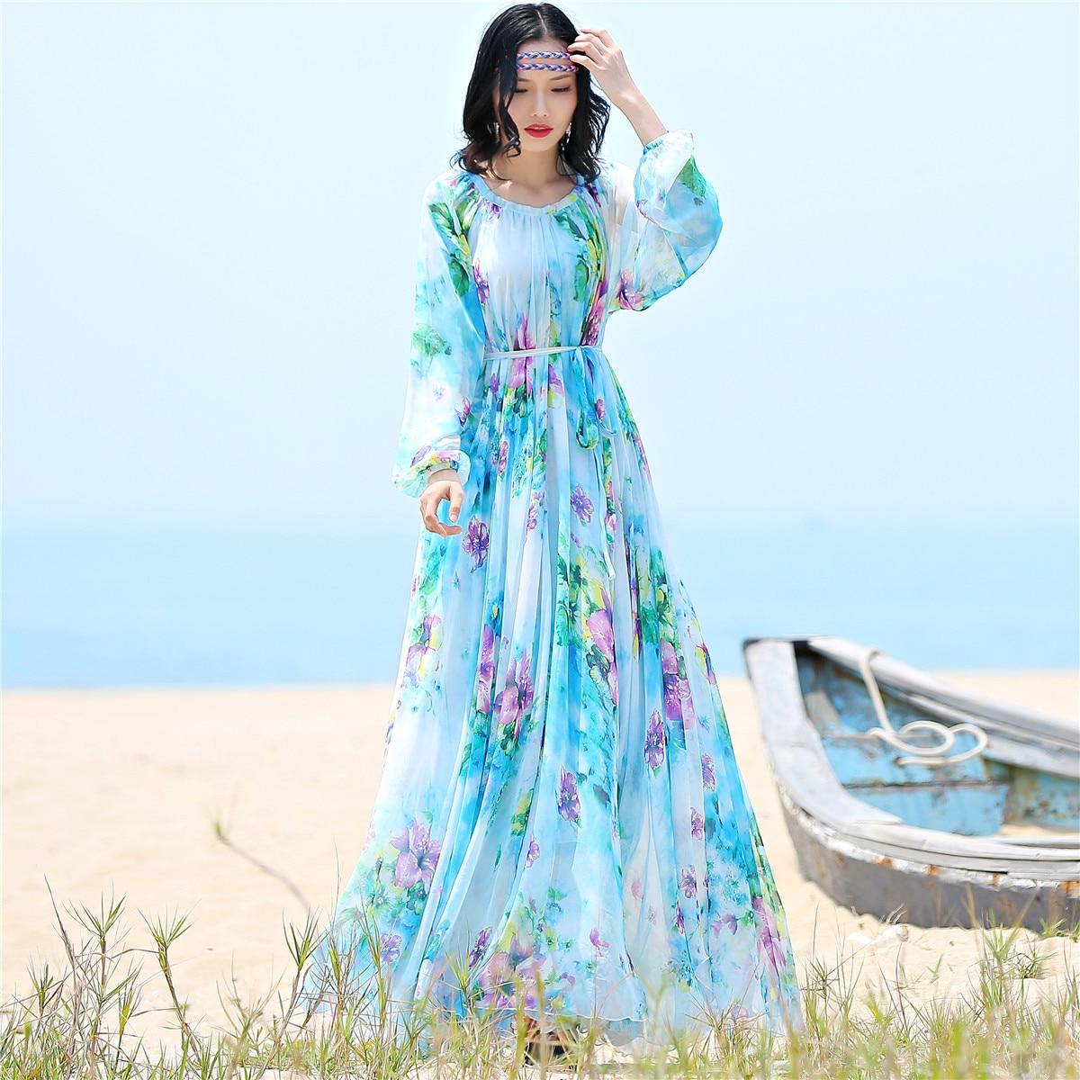 2019 mousseline de soie à manches longues robe maxi bohême robe pleine grande taille celebrity/graduation/robe de soirée robe de plage