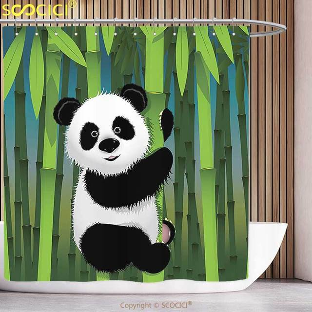 Decorative Shower Curtain Cartoon Decor Collection Curious Baby Panda On Stem Of The Bamboo Bear Jungle Nature Wood Design