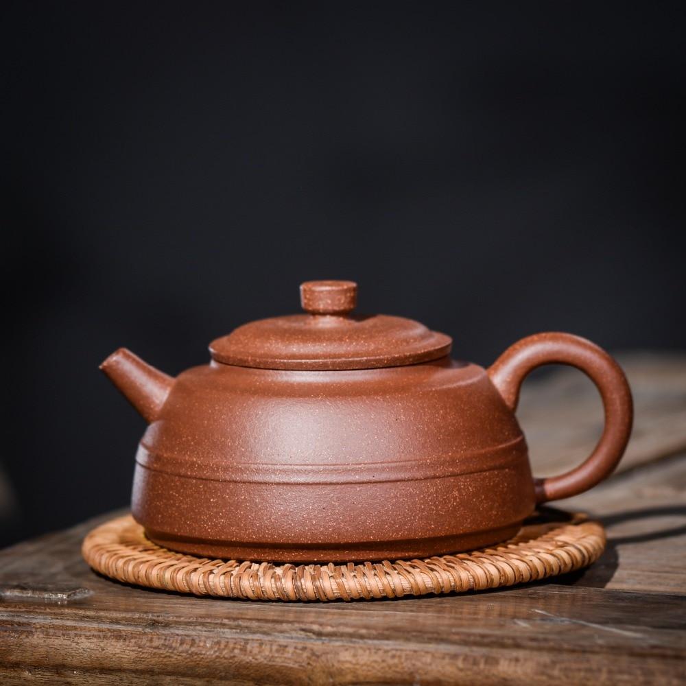 240ml Yixing Purple Clay Teapot Famous Hand made Purple Mud Line Round Pot Teapot Jasmine Tea Kung Fu Tea Set Gift Set Teapot