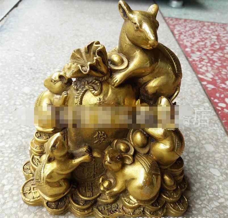 SUIRONG---2017 813 + + + Открытие пять Фортуны золото медь украшение в виде мышек мешок Zhaocai обогащение крыса бронзовые ремесла фэн шуй
