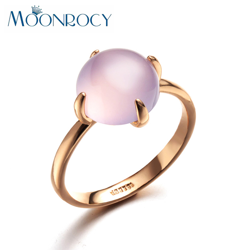 MOONROCY Free Shipping Fashion Jewelry Wholesale Rose Gold Color Pink Opal Wedding Crystal Ring for Women Gift Drop Shipping