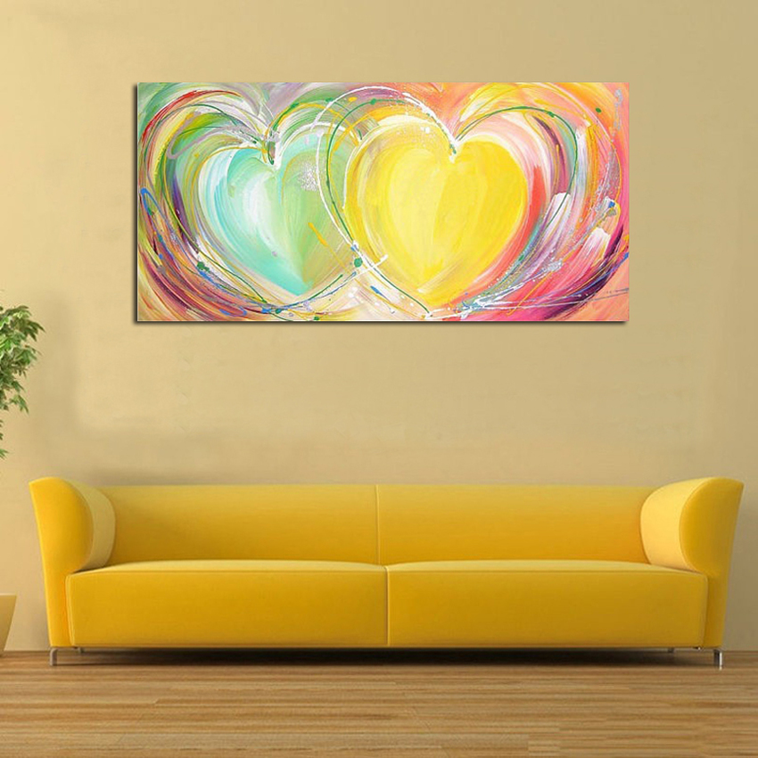Modern abstract romantic colorful heart oil painting hand painted ...