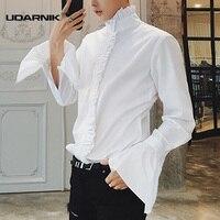 Men Gothic Shirt Top Victorian Ruffle Collar Punk Steampunk Puff Sleeve Vintage Fashion Retro Black White