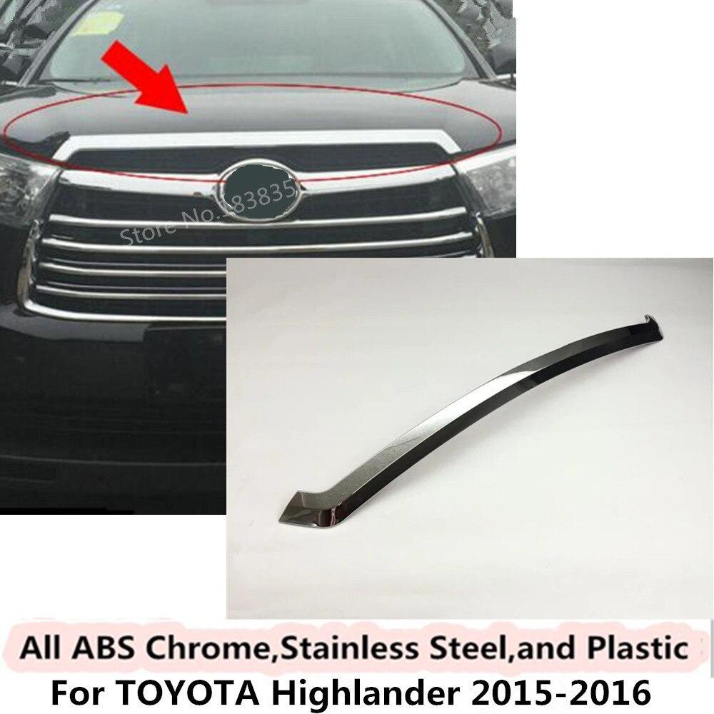 De haute qualité Pour Toyota Highlander 2015 2016 couverture De Voiture Pare chocs moteur ABS Chrome versions Avant Grille Grill Grille cadre bord 1 pcs dans Chrome Styling de Automobiles et Motos