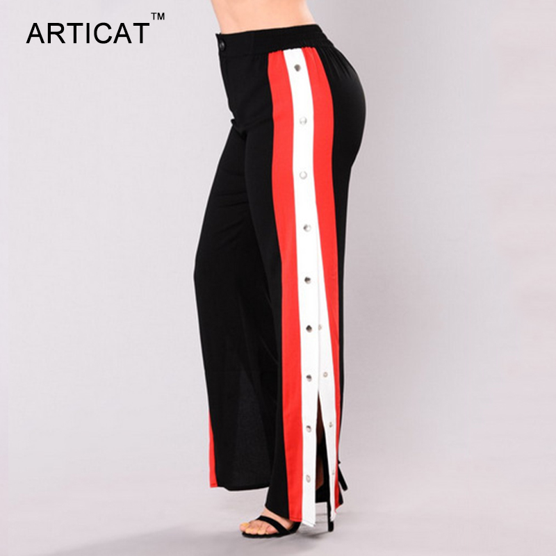 HTB1zhOJSXXXXXagapXXq6xXFXXXB - Wide Leg Pants Side Split Women Pants High PTC 153