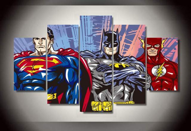 Incorniciato stampata cartone animato superman batman flash