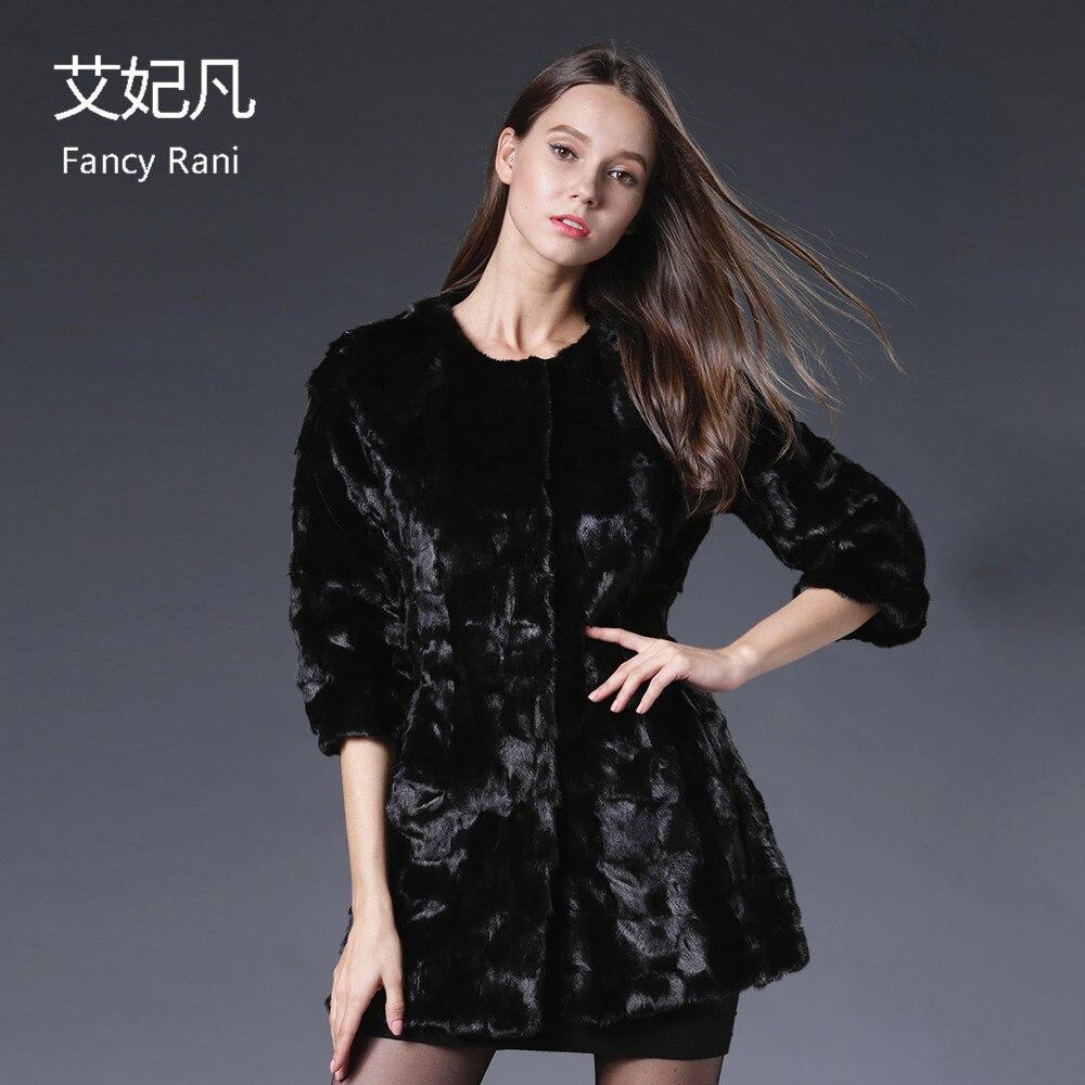 Manteau Mode Gros Fourrure De Hiver Réel En Véritable Marque Luxe Black Noir Trimestre Veste Vison Femmes Trois Manches Manteaux x0wFvwq1T