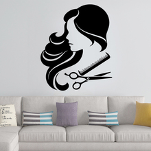 Hot Sale Woman Hair Cut Wall Art Decals For Barber Stickers Vinyl Mural Hairstyle Sticker