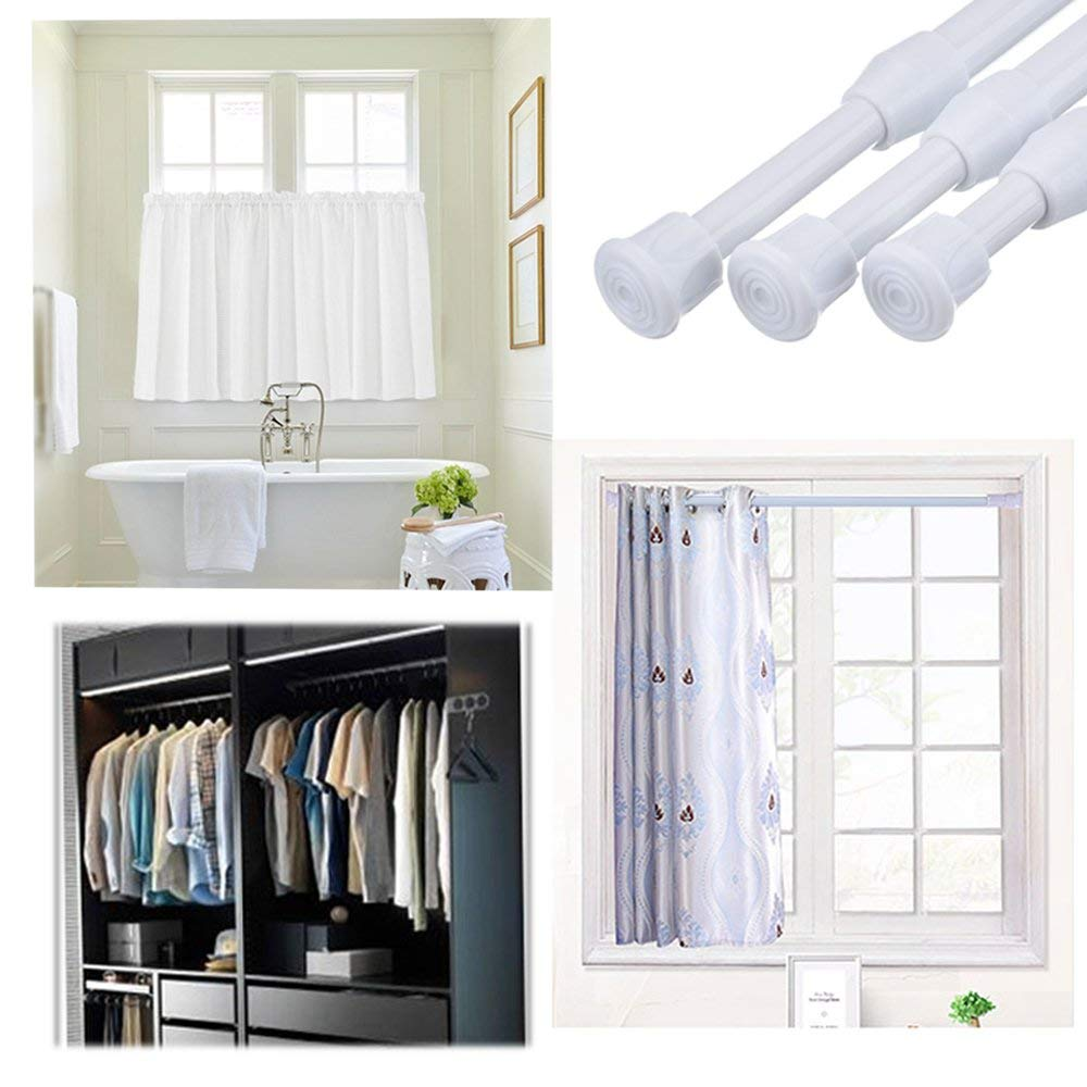 36inch Adjule Bathroom Shower Curtain Rods Pole Extendable Telescopic Rod Rail Hanger Spring Loaded Cloth Holder In Poles From
