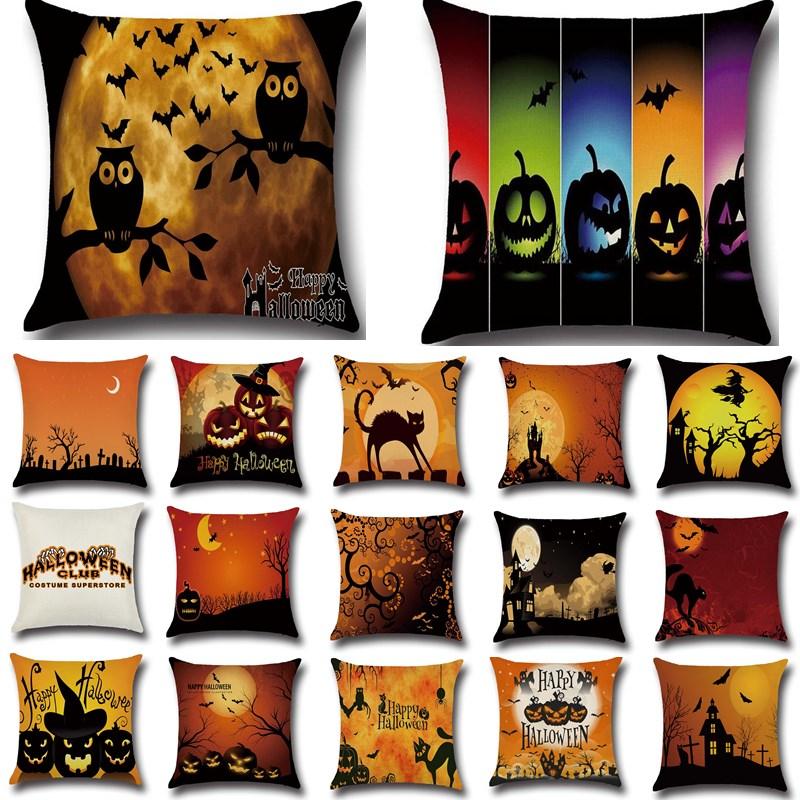 1Pcs Halloween Bat Owl Pattern Tree Cotton Linen Throw Pillow Cushion Cover Seat Home Decoration Sofa Decor Pillowcase 40188