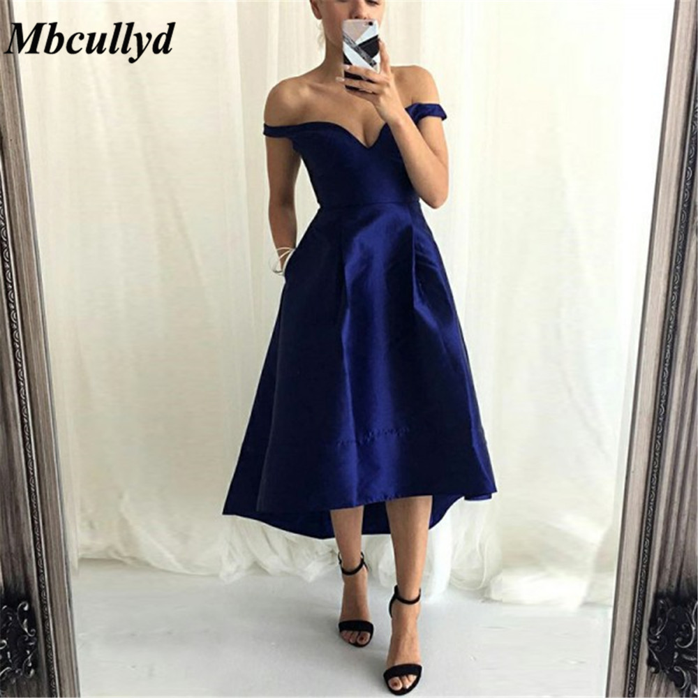 Mbcullyd Royal Blue Satin Short   Bridesmaid     Dresses   V Neck Off The Shoulder A Line Simple Wedding Party Women Gowns Cheap Sale