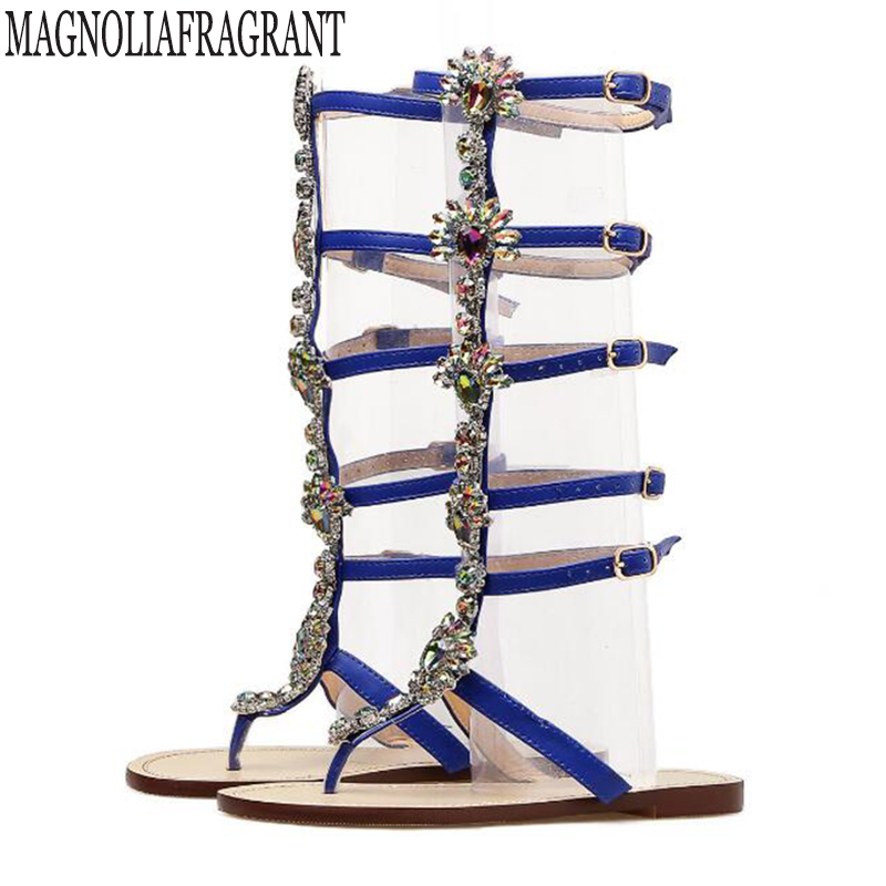 2018 Woman Sandals Women Shoes Rhinestones Chains Thong Gladiator Flat Sandals Crystal Chaussure Plus Size 43 tenis feminino