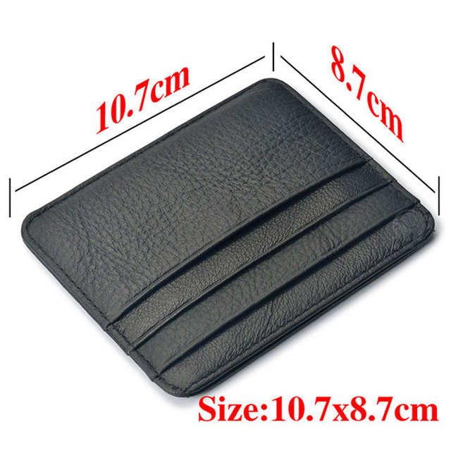 New Arrival Mini Wallets 12 Colours Ultra-thin Card Holder Mens Business Small Genuine Leather Purse Leather Card Case 6 Slots 3