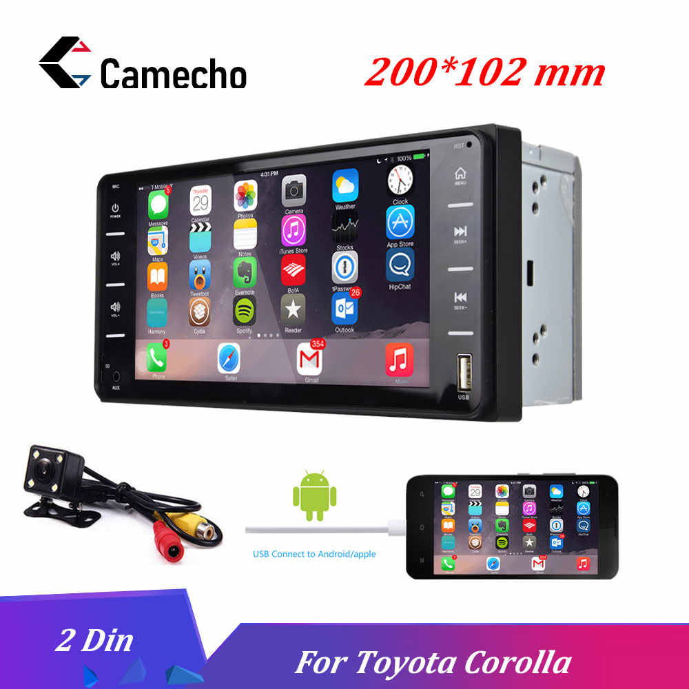 "Camecho 7"" Car Radio Audio Radio 2din Touch Screen Car Multimedia Bluetooth MirrorLink Android/IOS FM/AUX Rear Camera MP5 Player"