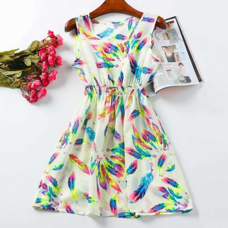 Женское сексуальное шифоновое платье без рукавов, Пляжное мини-платье с цветочным принтом, Vestido