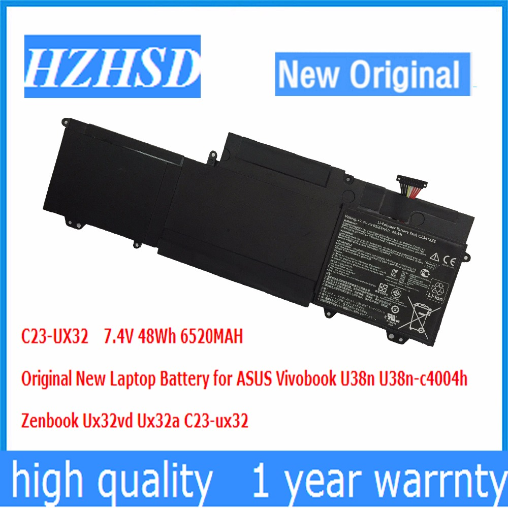 7.4V 48Wh 6520MAH Original New C23-ux32 Laptop Battery for ASUS Vivobook U38n U38n-c4004h Zenbook Ux32vd Ux32a все цены