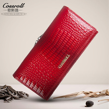 cossroll Womens Wallets Purses Female Long European and American Style Genuine Leather Wallet Coin Purse Ladies