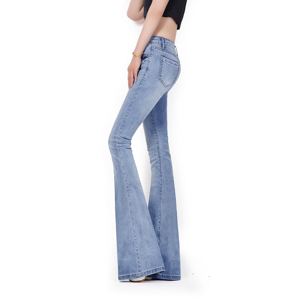 New waist of Italy spring and summer waist light blue lengthened Mini horn jeans big foot pants female free shipping yt0265 italy 2014 renewable energy and sustainable development falls volcano 1ms new 0521