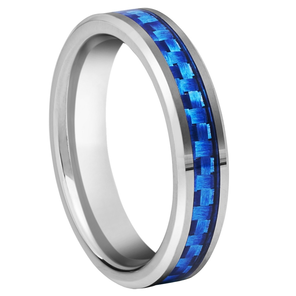 Unique Engagement Rings 4mm Tungsten Ring Silver Color Band Blue Carbide Fiber inlay Anniversary Rings Antique Jewelry