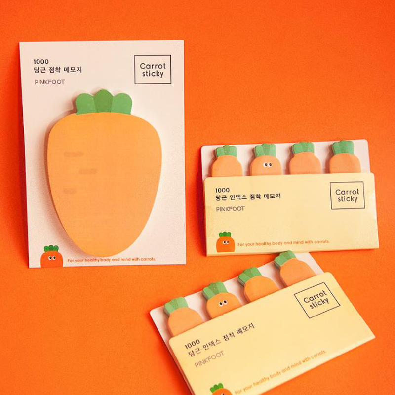 1 Pcs Kawaii Carrot Vegetables Style Paper Memo Pads N Times Sticky Notes Escolar Papelaria School Bookmark Label Stationery