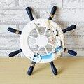Estilo mediterráneo de madera barco timón náutico inicio muro náutico volante Redes de pesca Decoración para el hogar regalos