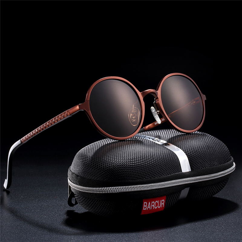 BARCUR Hot Black Goggle Man Round Solglasögon Luxury Brand Men Glasses Retro Vintage Women Sun Glass UV400 Retro Style