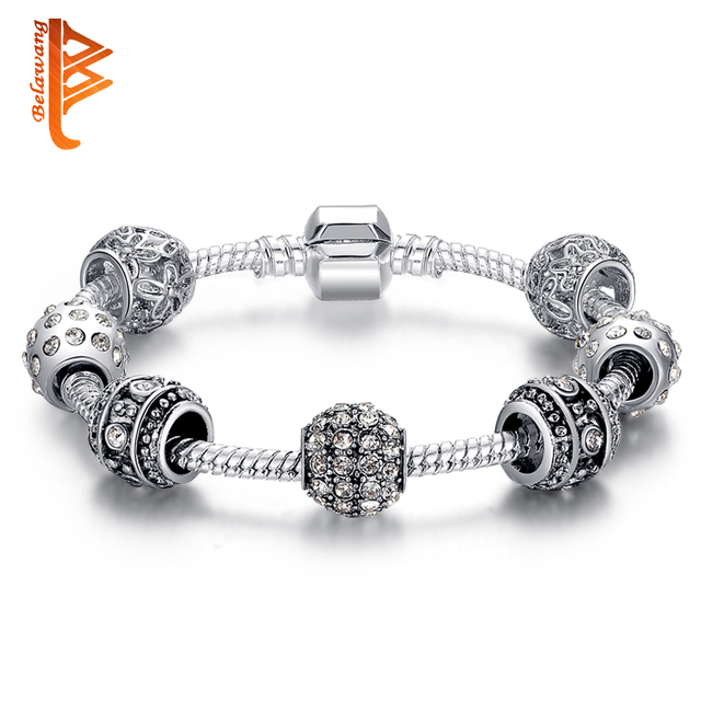 Fashion Women Bracelet Silver Plated Crystal Bead Charm Bracelet For Women Christmas Jewelry Original Bracelets Gift PS3005