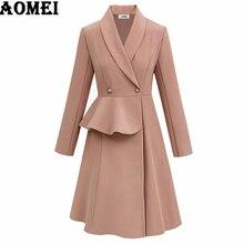 Куртки с длинным рукавом ТРАПЕЦИЕВИДНОЕ осеннее платье пальто элегантная Офисная Женская рабочая одежда тонкие пуговицы размера плюс 3XL 4XL осень Vestidos
