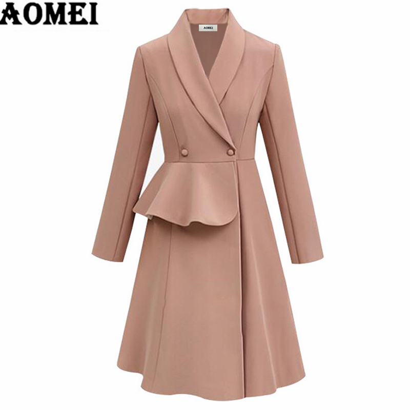 Detail Feedback Questions about Long Sleeve Jackets A Line Autumn Dress Coat  Elegant Office Ladies Workwear Slim Buttons Plus Size 3XL 4XL 2019 Fall ... c4894fdaddfd
