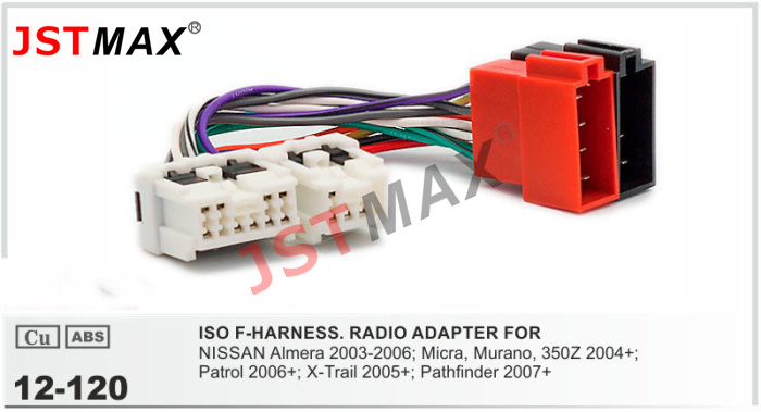 JSTMAX ISO cable car Radio stereo Adapter for NISSAN Almera Micra Murano Patrol Wiring Harness Connector jstmax iso cable car radio stereo adapter for nissan almera;micra nissan wiring harness connectors at reclaimingppi.co