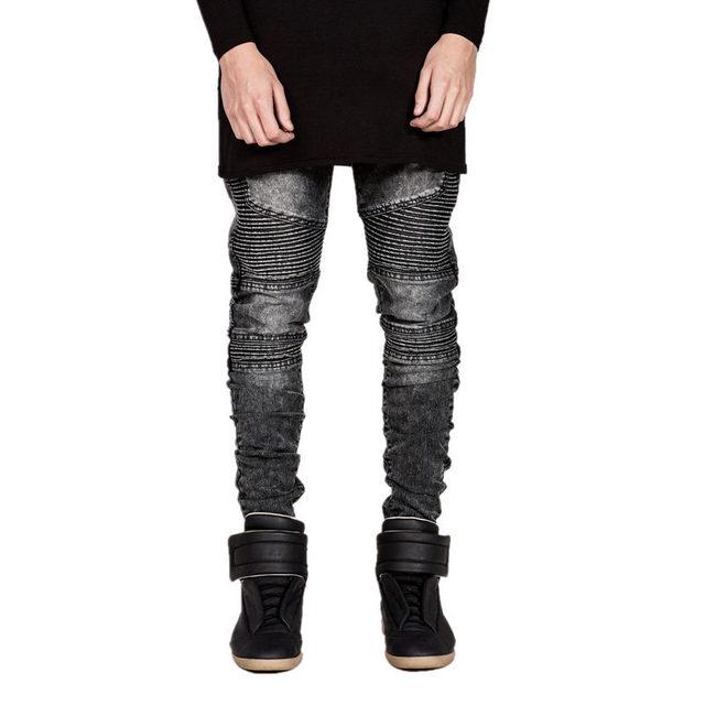 Fashion Men Ripped Slim Long Pants men's biker jeans hole brand straight jeans Kanye West David Beckham trousers Cooo Coll