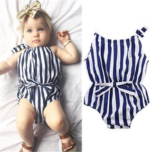 New Arrival Autumn Summer Kids Baby Girl Clothes Striped Bodysuit Jumpsuit Outfits Clothes 0-24M