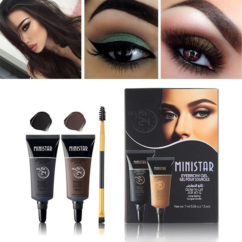 2pcs Waterproof Pigments Black Brown Henna Eyebrow Gel Tint Long