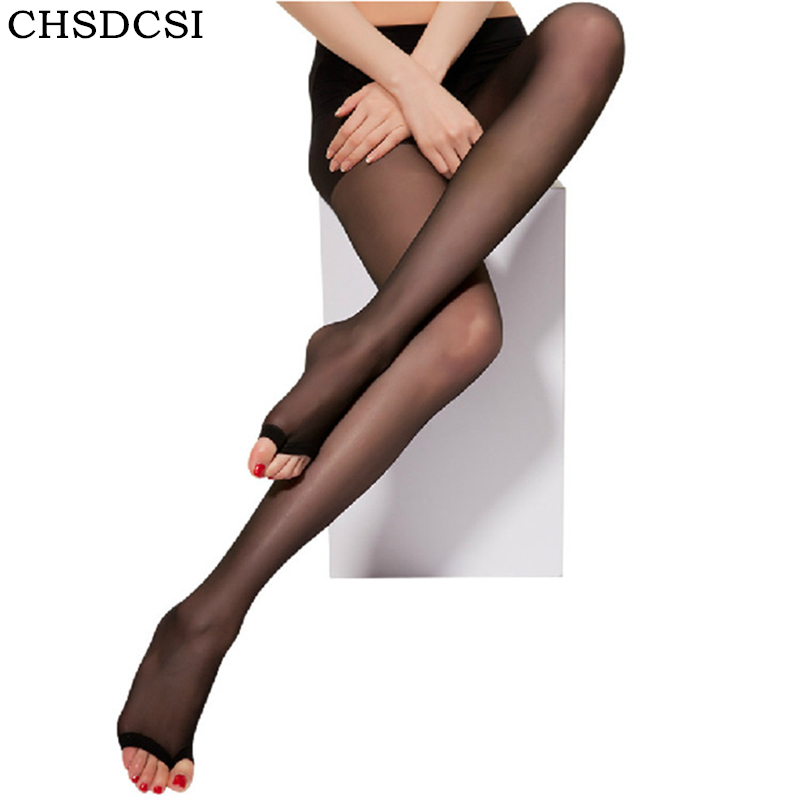 CHSDCSI Spring Fall Open Toe Pantyhose Sexy Thin Nylon Womens Tights Stockings 2018 Fashion Female Transparent Long Stockings
