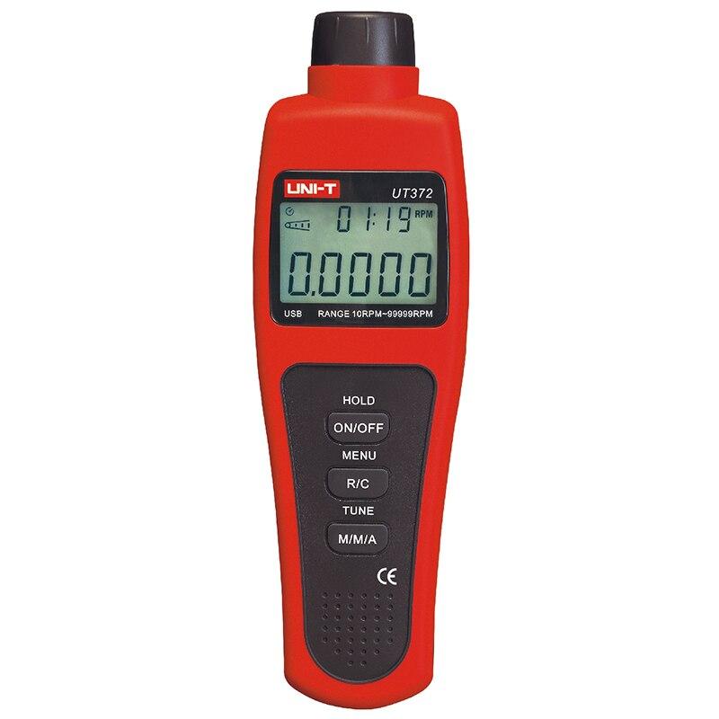 UNI T UT372 Senza Contatto Tachimetro Digitale RPM Meter 10 rpm-99999 rpm Regolabile frequenza di Campionamento Display LCD interfaccia USB I Dati in possesso