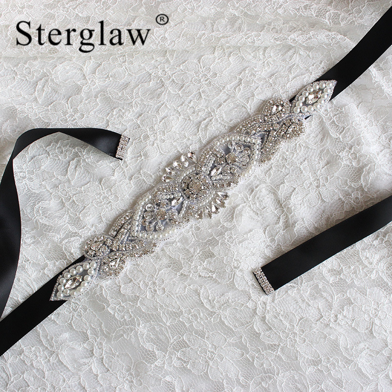 270x5cm Women Adult Hot Selling Bridal Belt Wedding Accessories Ball Gown Button Sweetheart Crystal Pears Beaded Belt C005
