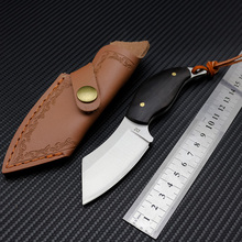 Couteau de dropshipping D2 mini couteau à lame fixe en acier avec couvercle en cuir, petit couteau à dégagement, couteau de camping en plein air, manche en ébène noir