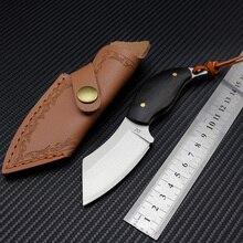 Dropship D2 staal mini vaste mes met lederen cover kleine klaring mes outdoor camping mes zwarte ebbenhouten handvat