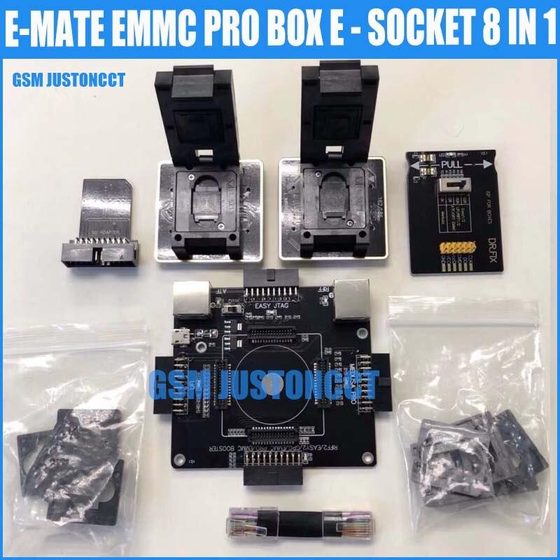 Date d'origine E-MATE boîte EMMC double e-socket Support BGA100 136 168 153 169 162 186 221 529 254 pour facile jtag plus UFI boîte Rif