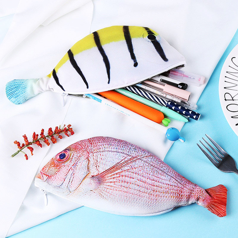Hot Sale Personality Imitation Fish Shaped Pencil Cases Creative Vivid Fishes Stationery Pen Bag School Pencil Box Office Supply