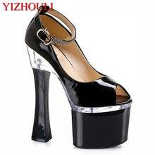 7 pulgadas peep toe tacón grueso mujeres bombas mujeres moda 18 cm  plataforma Sexy zapatos de tacón alto con tiras zapatos exóti. a4b35d4e6f16