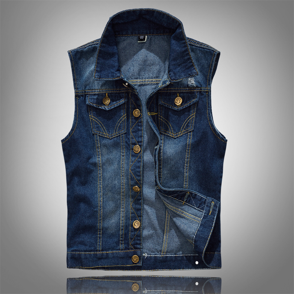 Cotton Jeans Sleeveless Jacket Vest Men Plus Size 5XL Dark Blue Denim Jeans Vest Male Cowboy Outdoors Waistcoat Mens Jackets