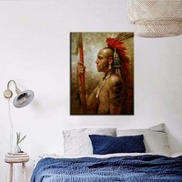 POP sale Abstract Native American indian Feathered man Portrait Canvas Painting Poster wall art for living room home decor