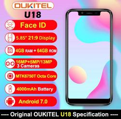 Oukitel U18 4GB 64GB 21:9 Screen SmartPhone 5.85 Inch MTK6750T Octa Core 13MP Dual Camera Android 7.0 Fingerprint Face ID OTG