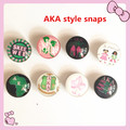 2017 vintage girl jewelry AKA style alloy button DIY glass 18mm Alpha mixed design snap charm jewelry accessory 8pcs,ONC-MIX6