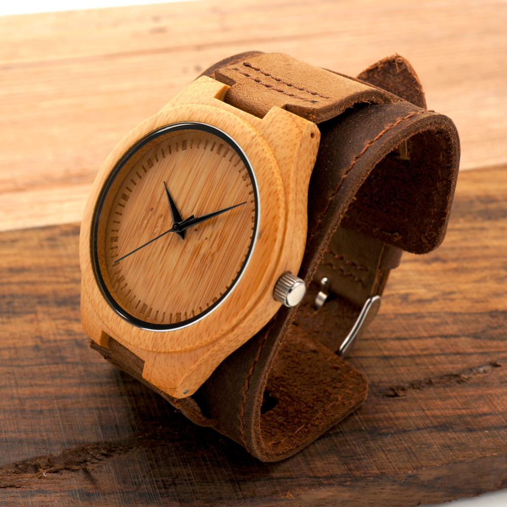 Bamboo Men and Women Wider Genuine Wristwatches 11